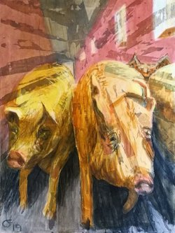 Pigs approaching, 60x80. SOLGT.